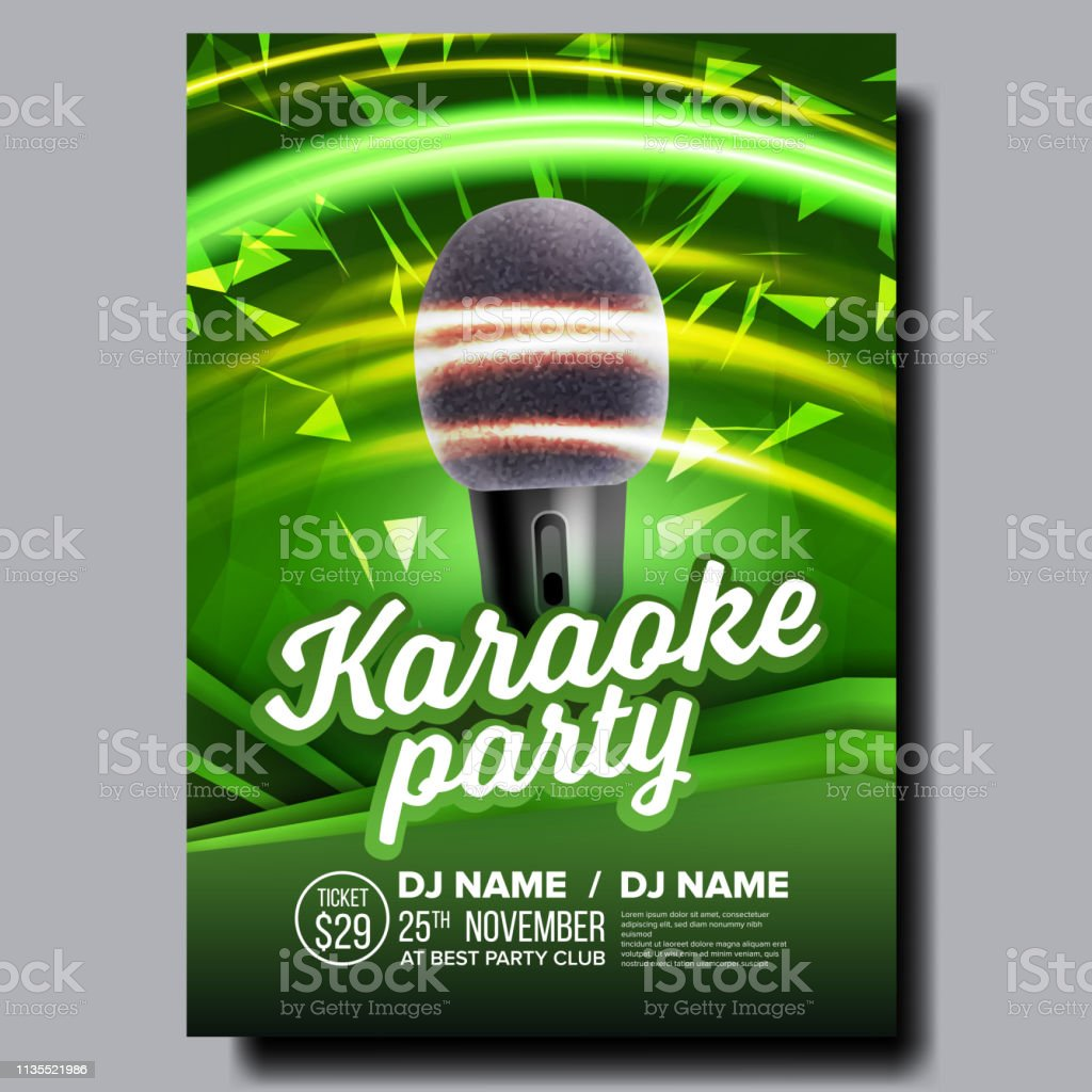 Karaoke Poster Vector Disco Banner Karaoke Voice Equipment Sing Song