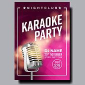 Karaoke Poster Vector. Retro Concert. Karaoke Club Background. Mic Design. Creative Layout. Audio Element. Speaker Label. Entertainment Competition. Media Announcement. Luxury. Realistic Illustration