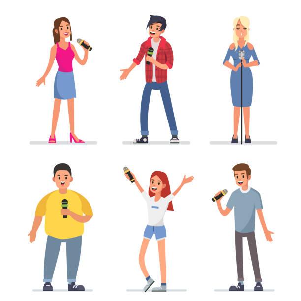 stockillustraties, clipart, cartoons en iconen met karaoke - zanger