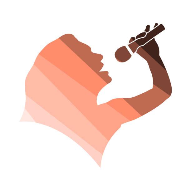 stockillustraties, clipart, cartoons en iconen met karaoke dames silhouet icoon - zanger