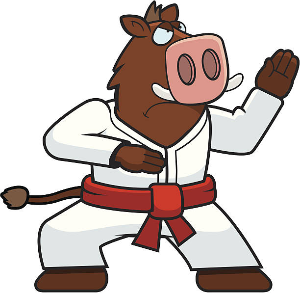 karate boar - karate stock illustrations, clip art, cartoons, & icons