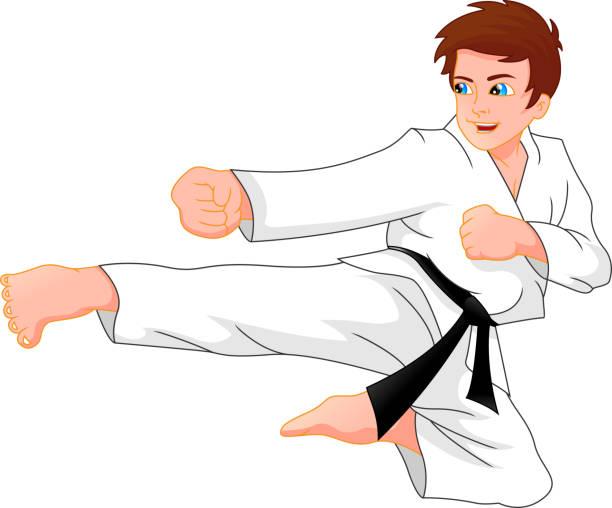 karate boy vector art illustration