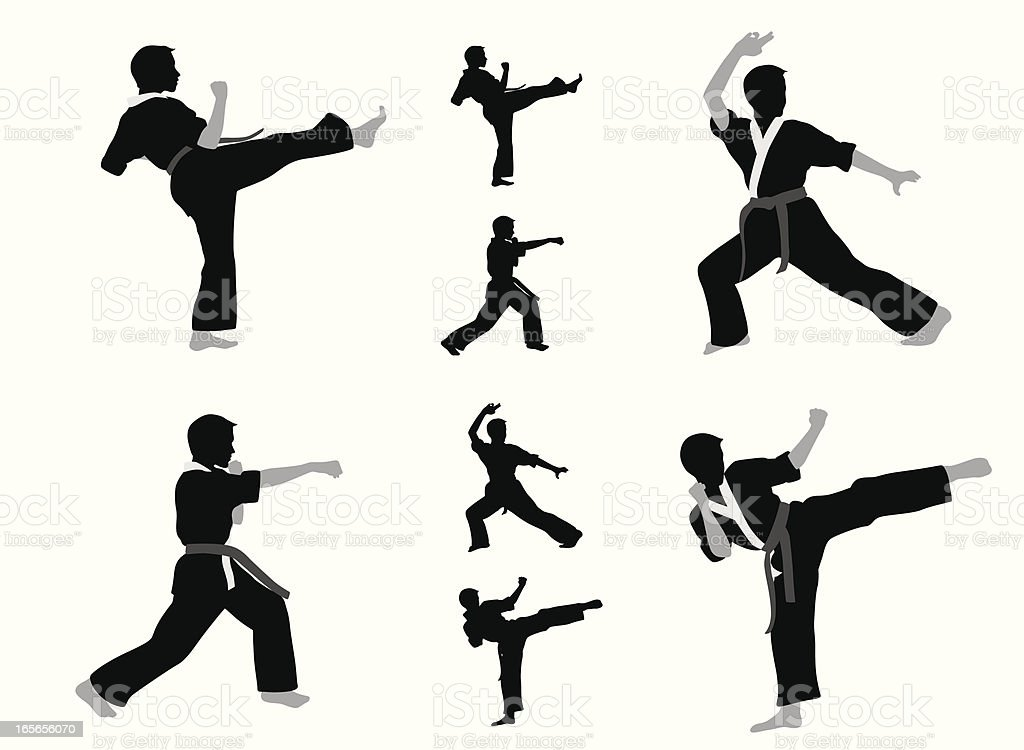 Karate Boy Vector Silhouette royalty-free karate boy vector silhouette stock vector art & more images of adolescence