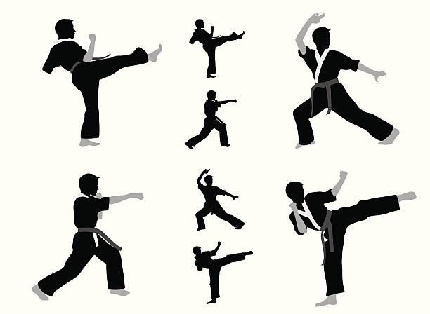 karate boy vector silhouette - karate stock illustrations, clip art, cartoons, & icons