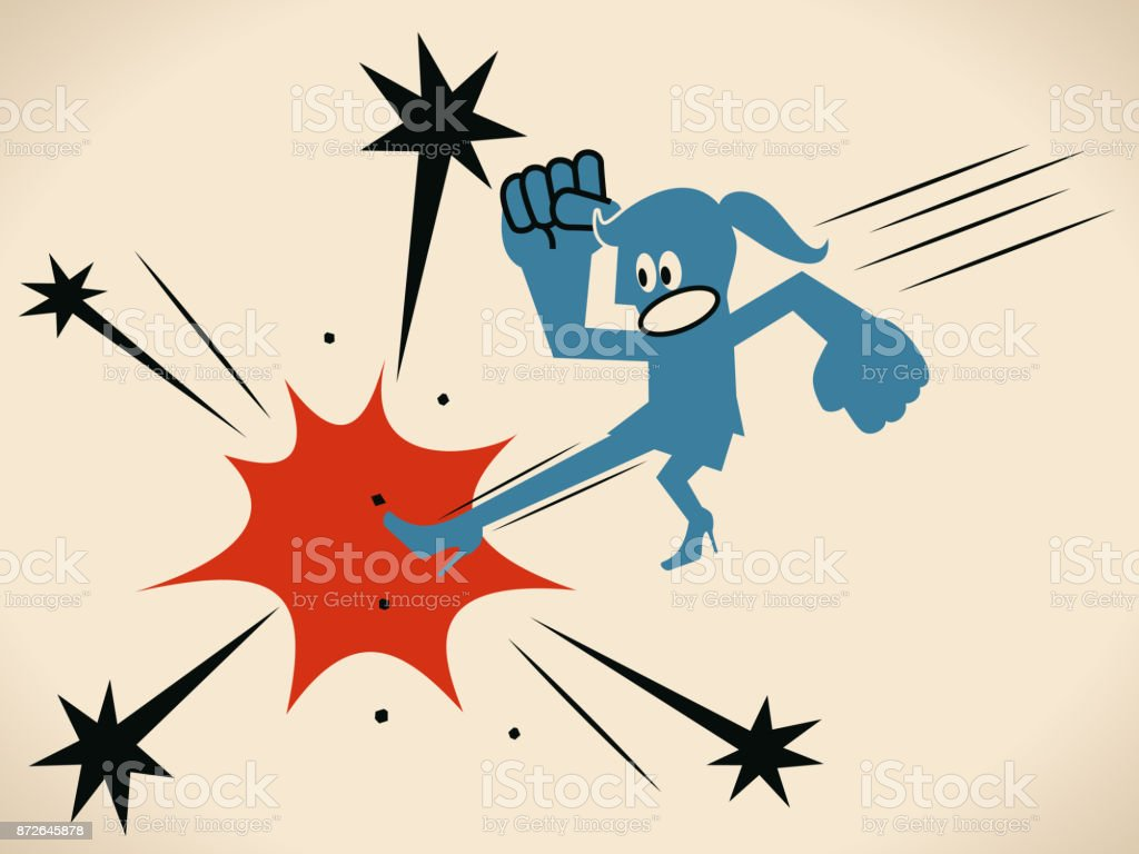 Karate, Businesswoman performing a flying kick vector art illustration
