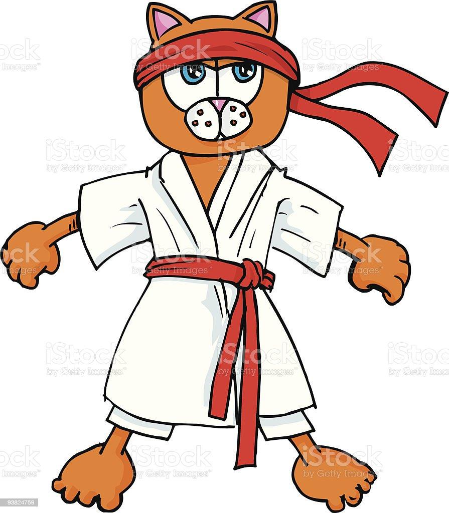 Karate gato - ilustração de arte em vetor