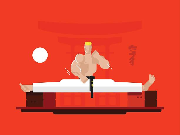 karate-zeichen in teilstrecken - spagat stock-grafiken, -clipart, -cartoons und -symbole