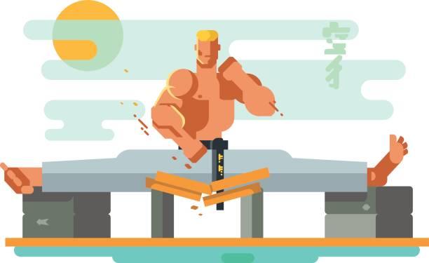 karate-charakter in den spaltungen - spagat stock-grafiken, -clipart, -cartoons und -symbole