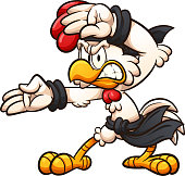 Cartoon chicken striking a karate pose clip art. Vector illustration with simple gradients. All in a single layer.