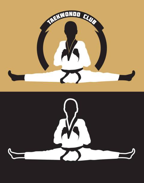 karate-club-symbol. - spagat stock-grafiken, -clipart, -cartoons und -symbole