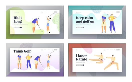 Karate Combat Competition, Golf Tournament Sports Life Website Landing Page Set, Sportsmen in Kimono Clash in Air Kick, People at Golfing Tournament Web Page. Cartoon Flat Vector Illustration, Banner