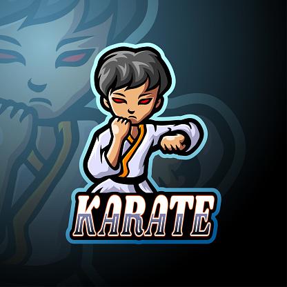 Karate esport logo mascot design