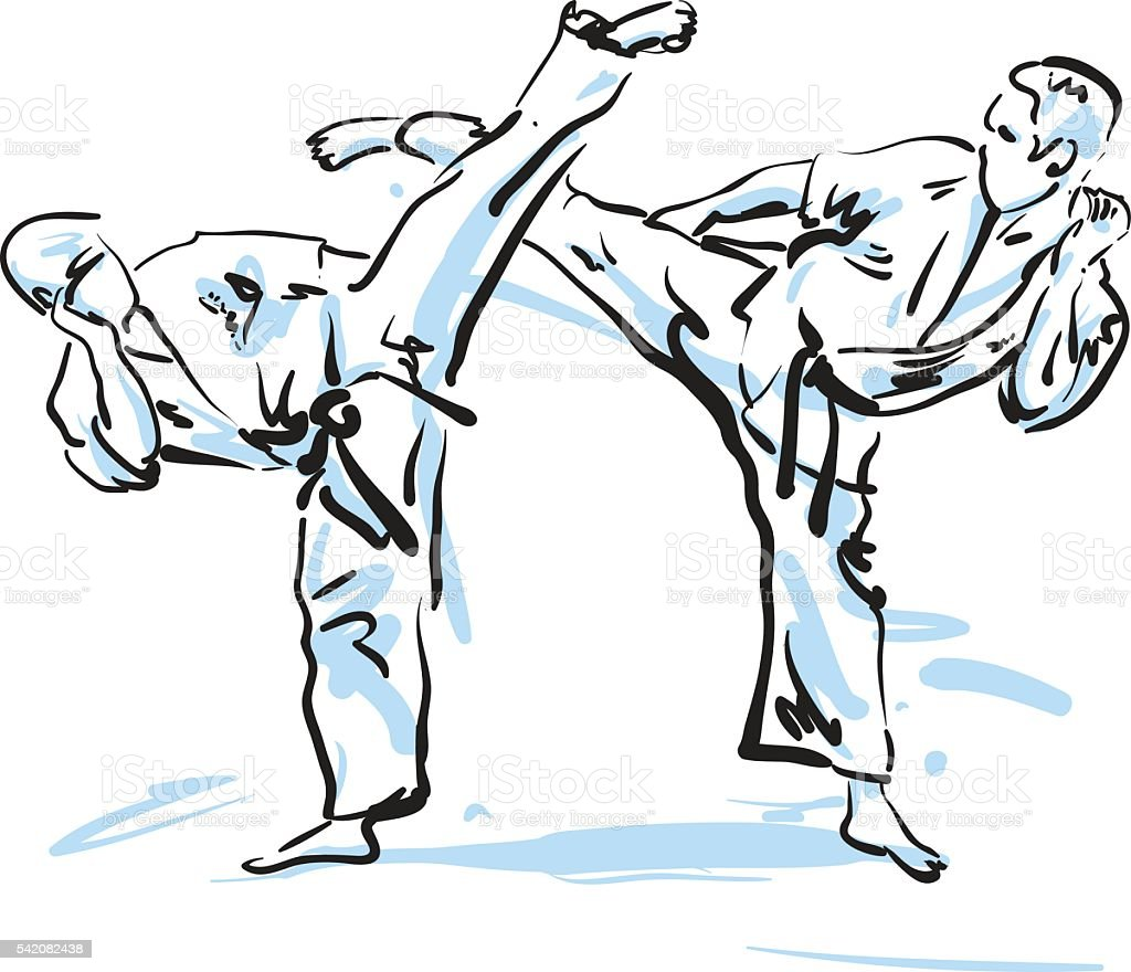 Caratê guerreiros, Ilustração vetorial - ilustração de arte em vetor