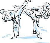 karate fighters, vector illustration