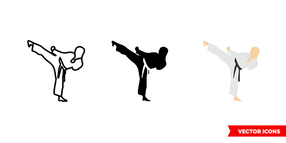 Karate icon of 3 types color, black and white, outline. Isolated vector sign symbol