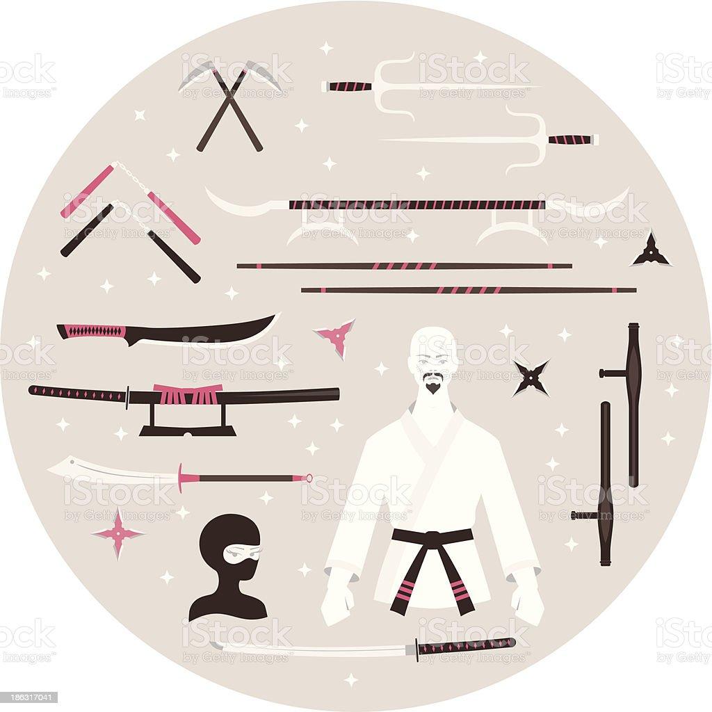 Karate ícones - ilustração de arte em vetor