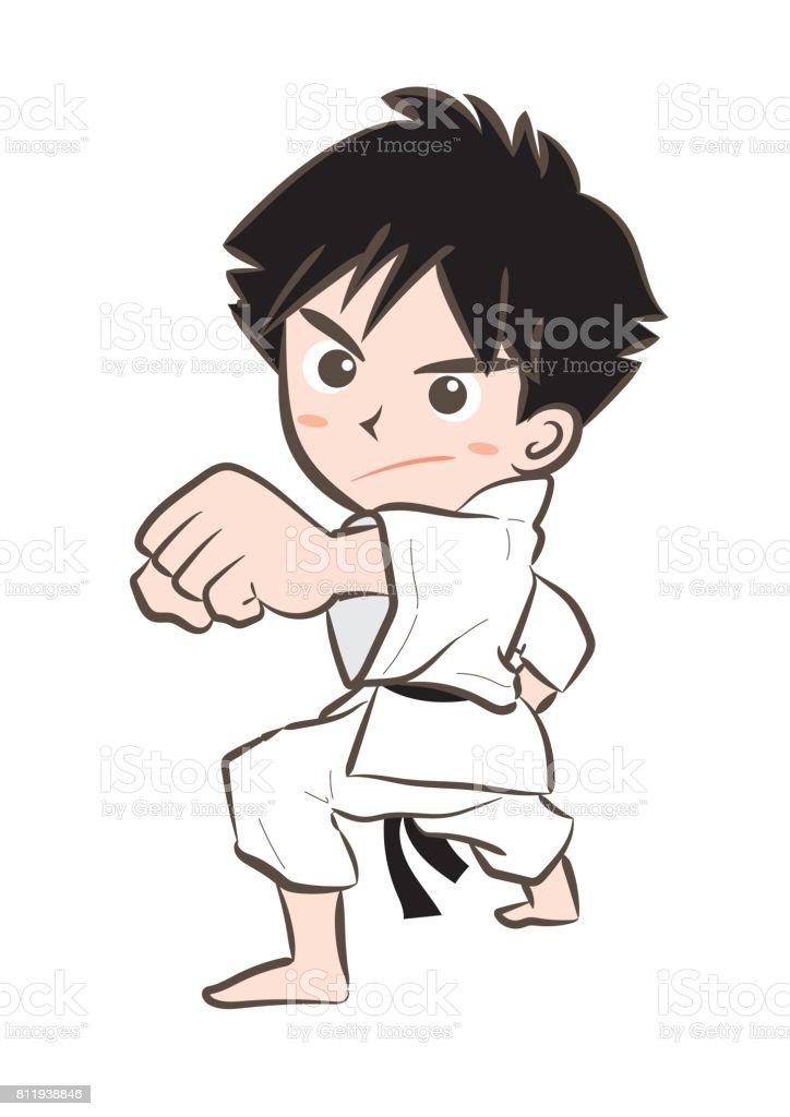 Karate image・Boy 6 - ilustração de arte em vetor