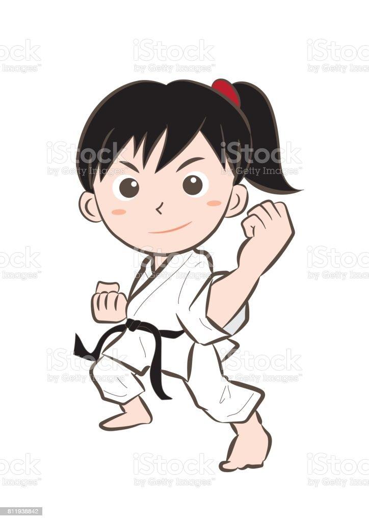 Karate image・Girl 7 - ilustração de arte em vetor