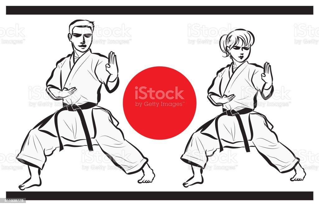 Mulher e image・man de karatê - ilustração de arte em vetor