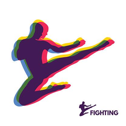 Karate Jump Kick. Fighter. Human Body. Sport Symbol. Design Element.