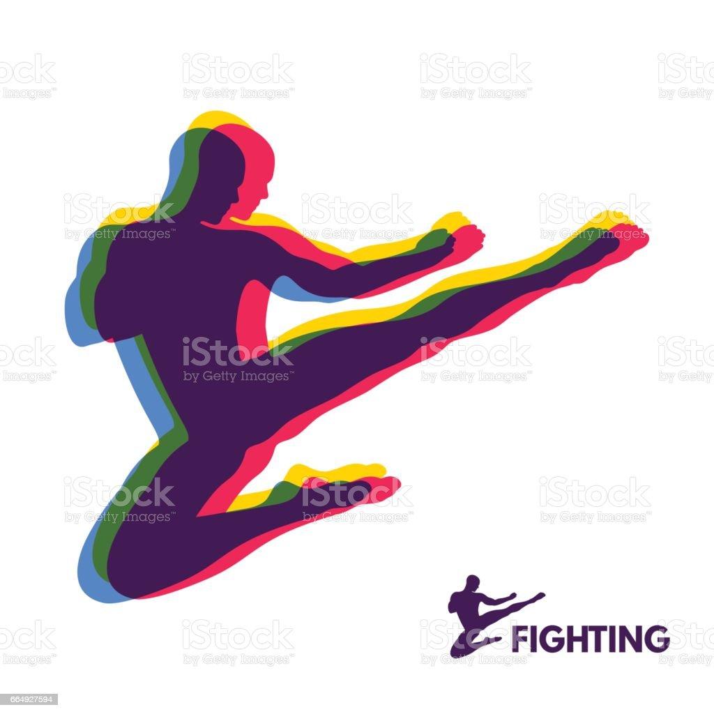 Pontapé do salto de karatê. Lutador. Corpo humano. Símbolo do esporte. Elemento de design. - ilustração de arte em vetor