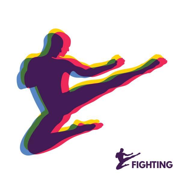Coup de saut de karaté. Combattant. Corps humain. Symbole du sport. Élément de Design. - Illustration vectorielle