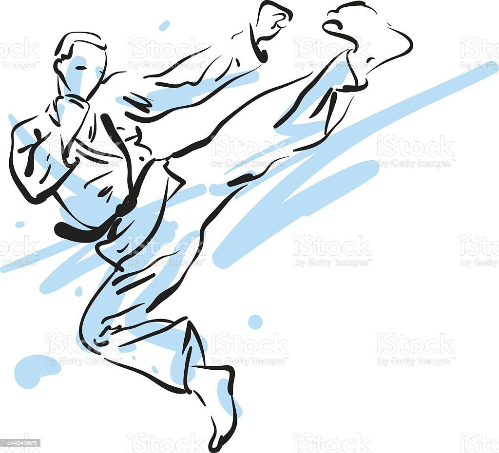 Karate-Tritt, Vektor-illustration – Vektorgrafik