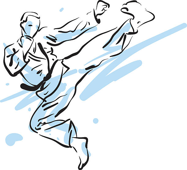 karate kick, vector illustration - martial arts stock illustrations