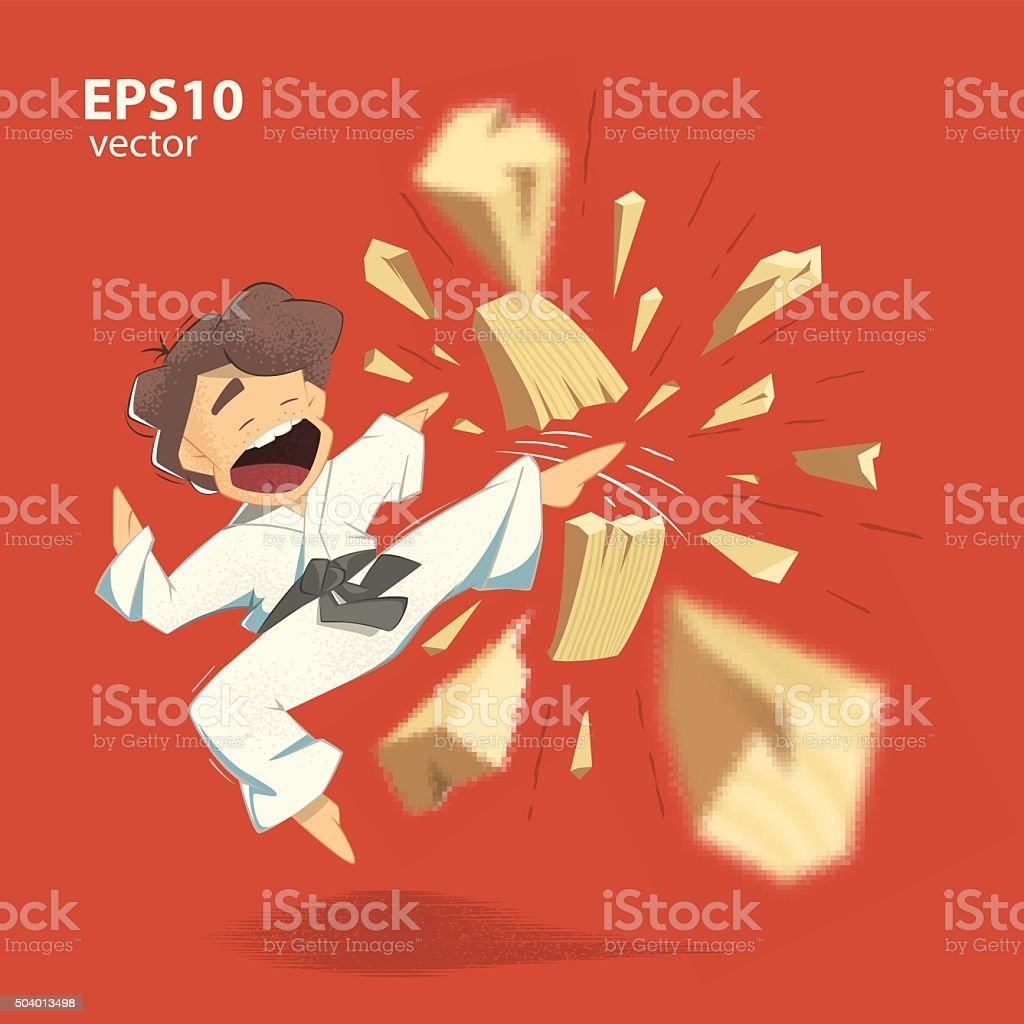 Karate crianças - ilustração de arte em vetor