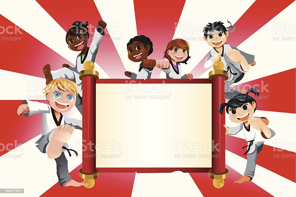Karate crianças banner - ilustração de arte em vetor