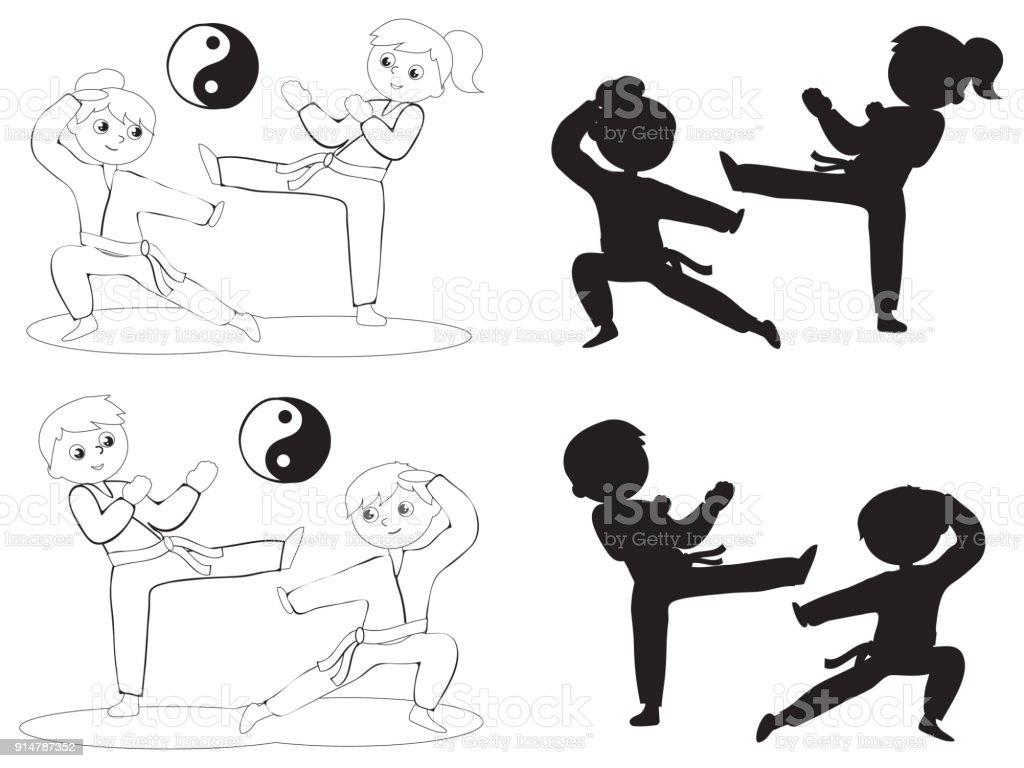 Ilustracion De Ninos De Karate Para Colorear Vector Siluetas Y Mas