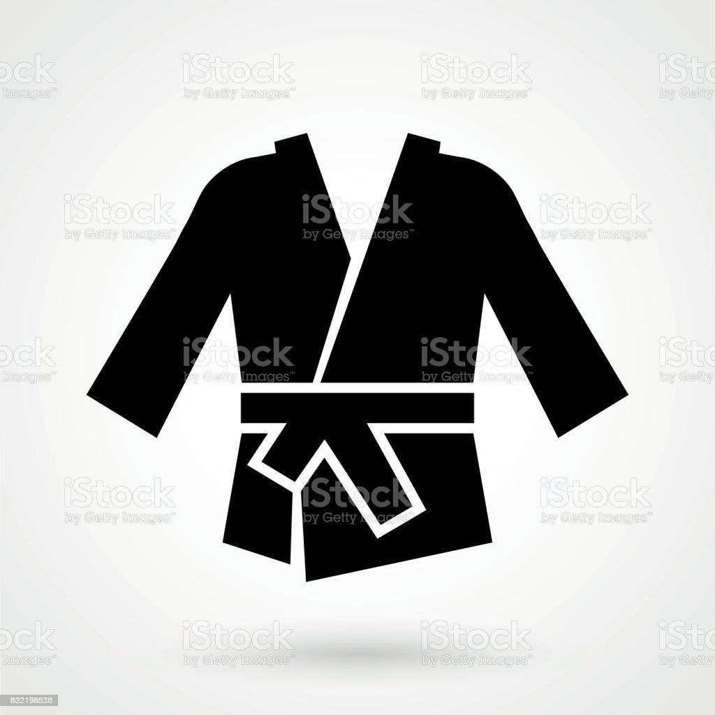 ícone de quimono karatê em um projeto liso na cor preta. Ilustração vetorial - ilustração de arte em vetor