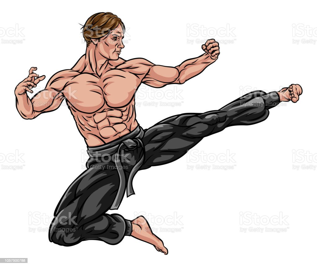 Karate Kung Fu Flying Kick Man Cartoon vector art illustration