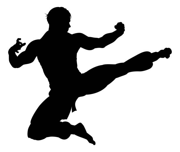 karate kung fu flying kick man silhouette - martial arts stock illustrations