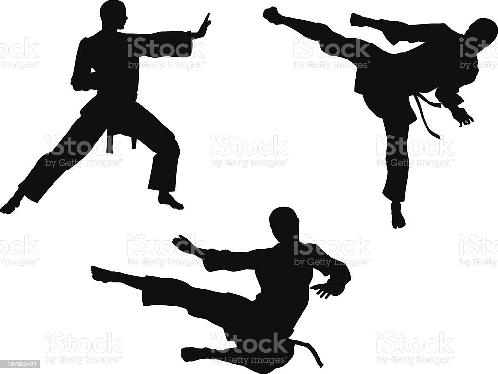 Karate Kampfkunst Silhouetten – Vektorgrafik