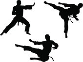 Karate Martial Art Silhouettes