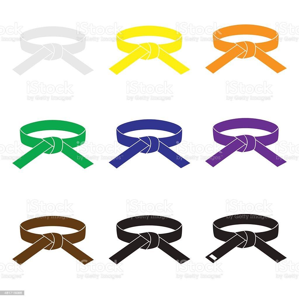 karate artes marciais cor cintos eps10 Conjunto de ícones - ilustração de arte em vetor
