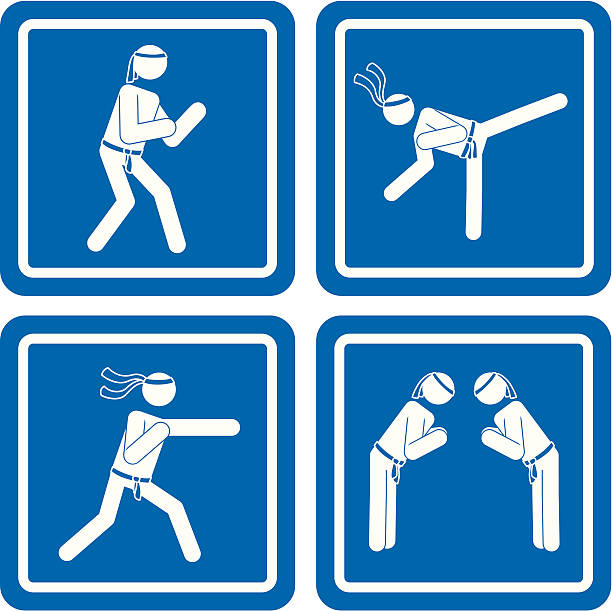 Karate Masters vector art illustration