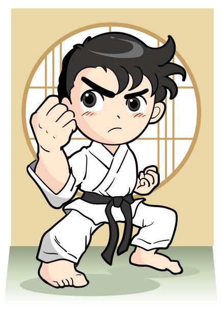karate pose - boy - karate stock illustrations, clip art, cartoons, & icons