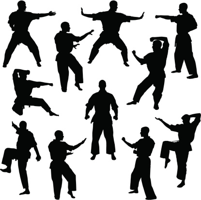 Karate poses for many different men