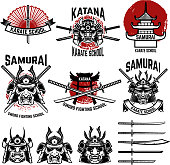 Karate school labels. Samurai swords, samurai masks. Japanese culture. Design element for label, sign. Vector illustration