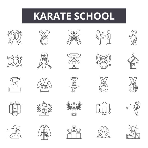 karate school line icons for web and mobile design. editable stroke signs. karate school  outline concept illustrations - martial arts stock illustrations
