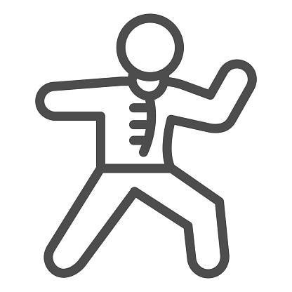 Karate sportsman line icon, self defense concept, karate kick sign on white background, martial arts master icon in outline style for mobile concept and web design. Vector graphics.