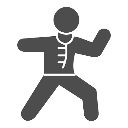 Karate sportsman solid icon, self defense concept, karate kick sign on white background, martial arts master icon in glyph style for mobile concept and web design. Vector graphics.