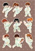 Karate stickers - vector illustration