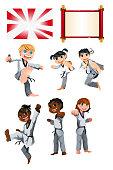 A vector illustration of Karate Taekwondo Kids