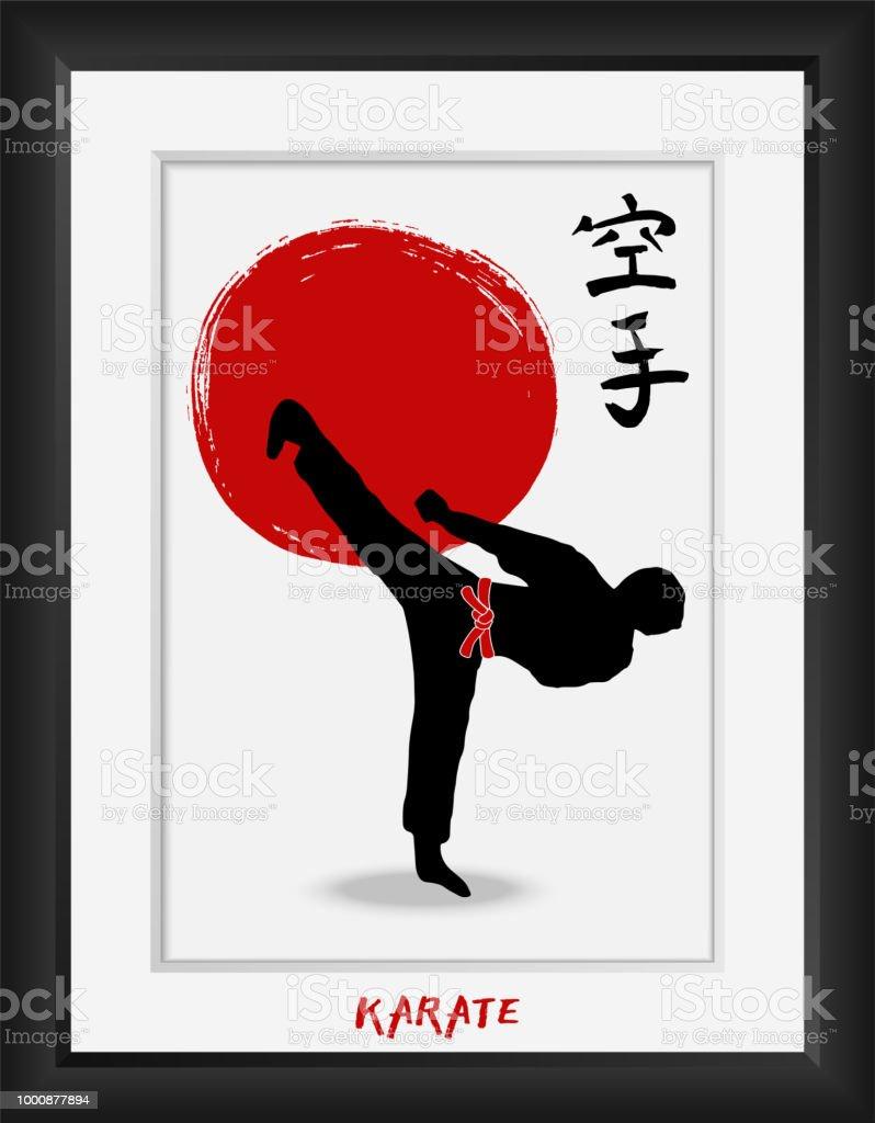 Arte marcial de karaté-japonês-vector símbolos de caligrafia em fundo de bandeira do sol vermelho. Hieróglifo de kanji de budo de Japão e homens demonstrando o karatê. Mão desenhada ilustração de pincel de tinta em molduras para fotos - ilustração de arte em vetor