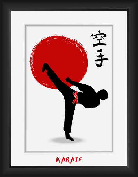 karate-japanese martial art -vector  calligraphy symbols on red sun flag  background. japan budo  kanji hieroglyph and men demonstrating karate. hand drawn ink brush  illustration in photo frame - martial arts stock illustrations