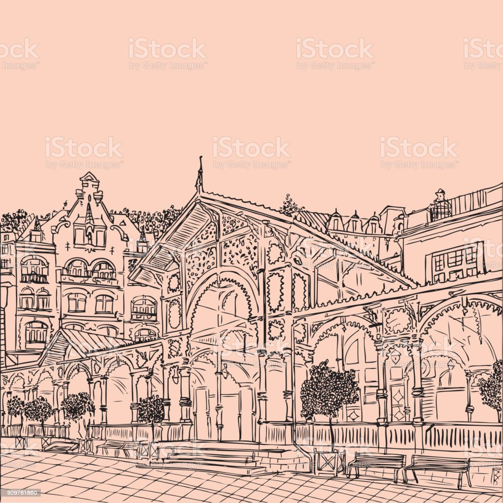 Karlovy Vary Carlsbad The Famous Spa City Czech Republic Vector