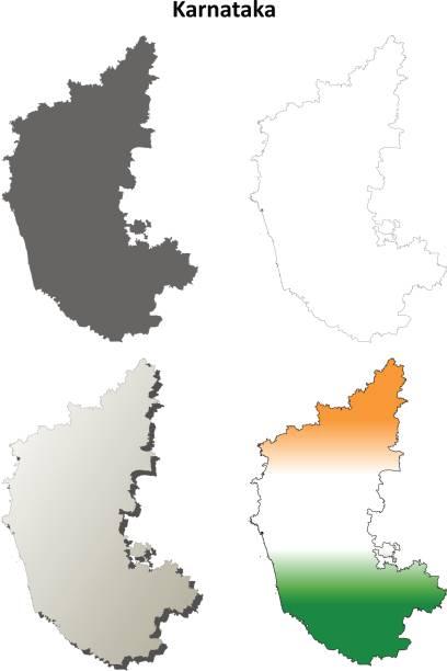 karnataka leer detaillierte gliederung karte gesetzt - mysore stock-grafiken, -clipart, -cartoons und -symbole
